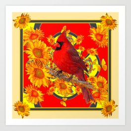 RED CARDINAL SUNFLOWERS ON CREAM ART Art Print