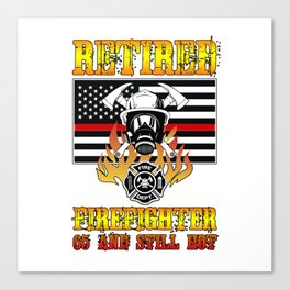 Retired Firefighter 65th Birthday Thin Red Line Flag Canvas Print