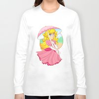 princess peach Long Sleeve T-shirts featuring Princess Peach by zamii070