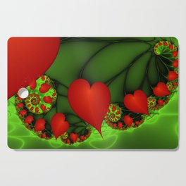 Dancing Red Hearts Fractal Art Cutting Board