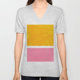 Pastel Yellow Pink Rothko Minimalist Mid Century Abstract Color Field Squares Unisex V-Neck