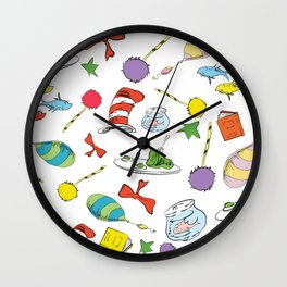 dr seuss pattern..  cat in the hat, lorax, oh the places you'll go,  Wall Clock