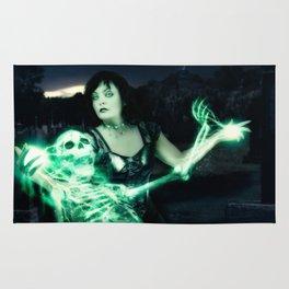 Sorceress casting spells on skeleton. Rug