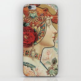 Lady With Flowers - Alphonse Mucha iPhone Skin