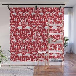 Christmas woodland scandinavian folk animals forest nature pattern gifts Wall Mural