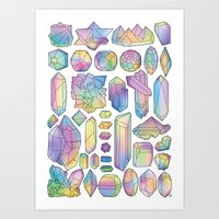 minerals Art Prints featuring Rainbow Minerals by Ouvra