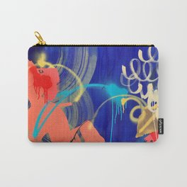 Everything Is Peachy raw canvas mixed media painting Carry-All Pouch