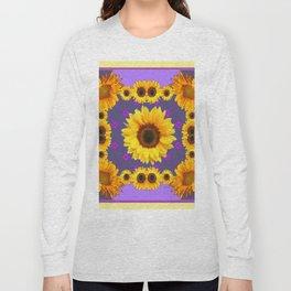 Golden Sunflowers Modern Art Purple Design Long Sleeve T-shirt