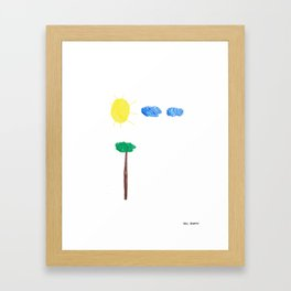 Sun, Tree, Two Clouds Framed Art Print