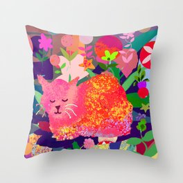 Sleeping Cat with Abstract Background Throw Pillow