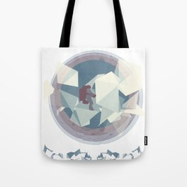 Astronaut and ice planet Tote Bag