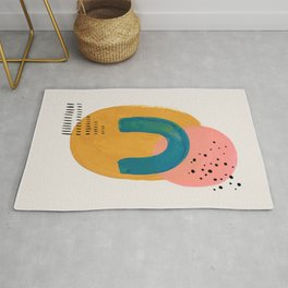 Minimalist Modern Midcentury Colourful Abstract Shapes Pink Yellow Teal Blue Pattern by Ejaaz Haniff  Rug