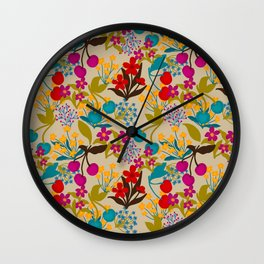 Wildflowers and Cherries Wall Clock
