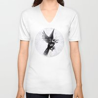 grafitti V-neck T-shirts featuring Dead bird by Happy Tao