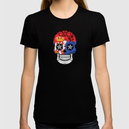 Sugar Skull with Roses and Flag of Serbia T-shirt