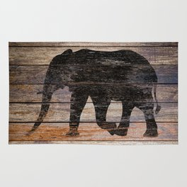 Rustic Elephant Animal Silhouette on Wood A215 Rug