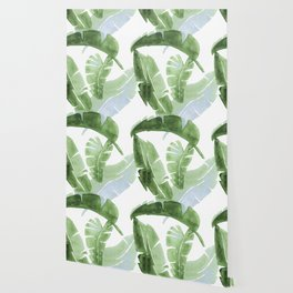 Tropical Leaves Green And Blue Wallpaper
