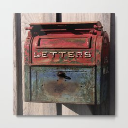 Vintage Postal Drop Box Metal Print