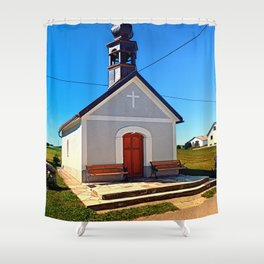 A village chapel with excessive powerlining Shower Curtain