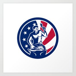 American Farrier USA Flag Icon Art Print