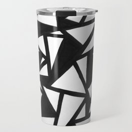 abstract black and white broken triangles pattern Travel Mug