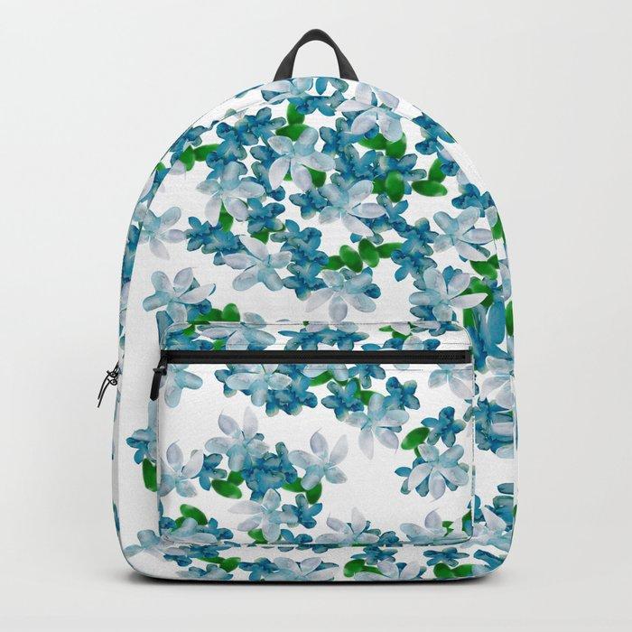 Summer Blues, Floral Pattern Backpack