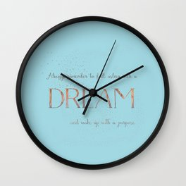 Always remember to fall asleep with a dream - Gold Teal Vintage Glitter Typography Wall Clock