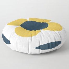 Scandi Flower Single - Retro Minimalist Floral Pattern in Light Mustard, Navy Blue, and White Floor Pillow
