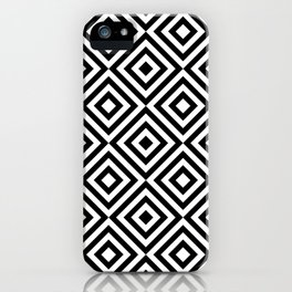Black & White Monochrome Geometric Diamonds Digital Pattern iPhone Case