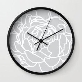 peony grey Wall Clock