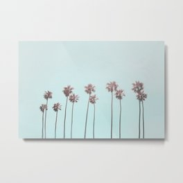 Pink Light Paradiese Beach Palm Trees Metal Print
