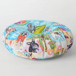 Dogs at the Beach Floor Pillow