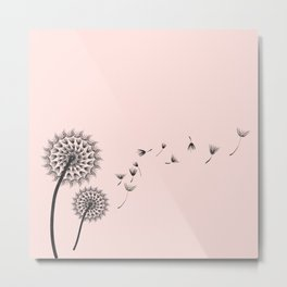 Contemporary Dandelion Flying Seedheads Drawing Metal Print