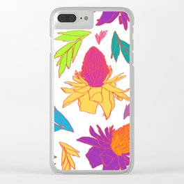 Tropical Ginger Plants in Pink + White Clear iPhone Case