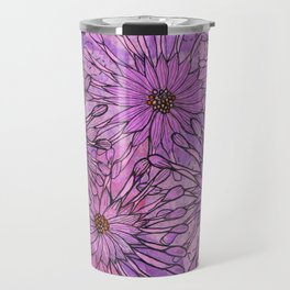 African Daisy, Pink Flowers, Floral Art Travel Mug