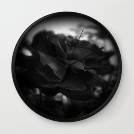 Red Rose Edges Dark Wall Clock