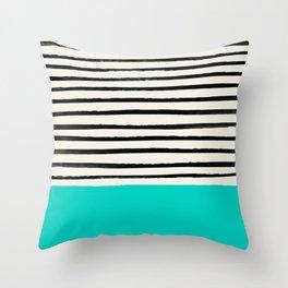 Aqua & Stripes Throw Pillow