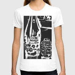 Sketched Buddha & Bottle Black on White T-shirt