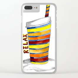 Relax Watercolor Tumbler Clear iPhone Case