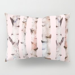 Birch Trees Pink Pillow Sham