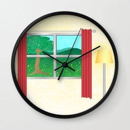 Summer window view Wall Clock