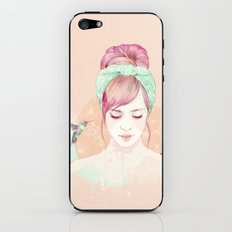 Pink hair lady iPhone & iPod Skin