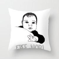 nori Throw Pillows featuring FREE NORI by mememolly