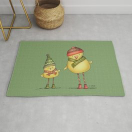 Two Chicks - green Rug