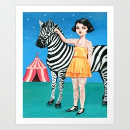 Tattooed circus girl with zebra. Art Print