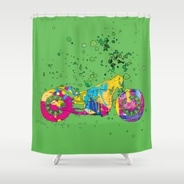 ap127-7 Motorcycle Shower Curtain