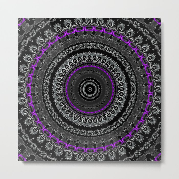 Black White and Purple Mandala Metal Print