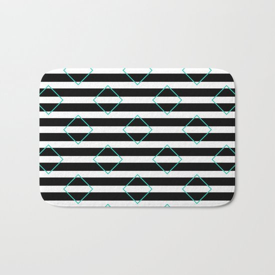 Black and White Stripes And Cyan Blue Squares Pattern Bath Mat