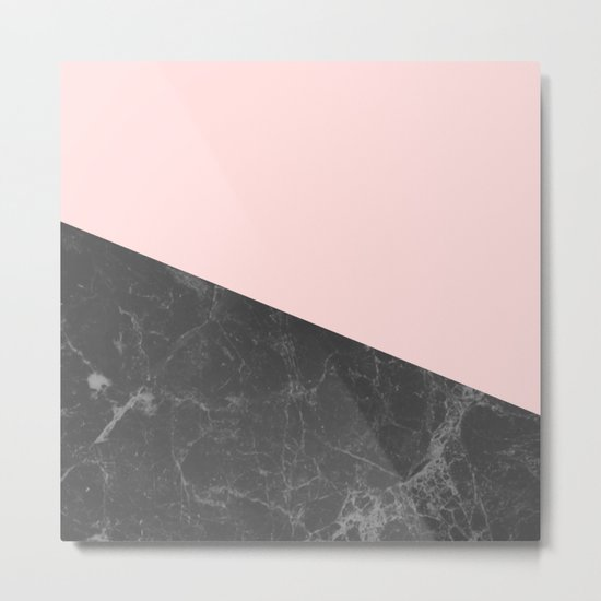 Marble Geometric Blush Pink Gray Black Metal Print