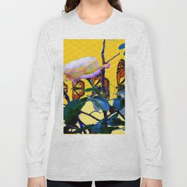 MONARCH BUTTERFLIES & ROSE ABSTRACT Long Sleeve T-shirt